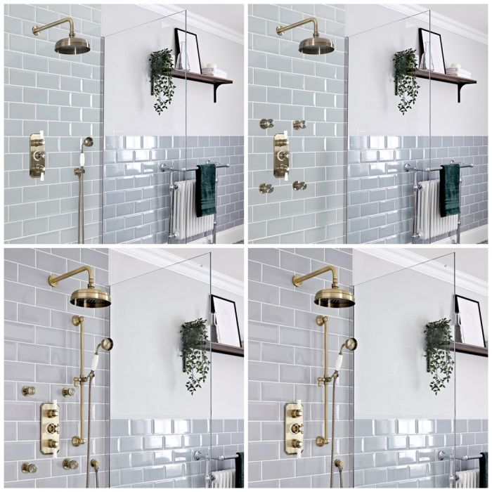 Milano Elizabeth - Brushed Gold Thermostatic Shower System - Choice of Outlets