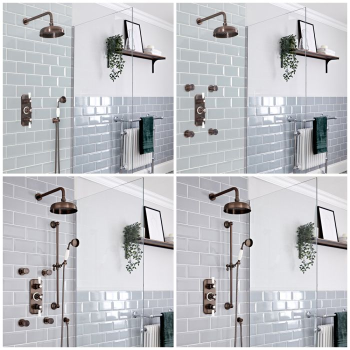 Milano Elizabeth - Oil Rubbed Bronze Thermostatic Shower System - Choice of Outlets