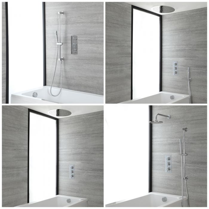 Milano Mirage - Chrome Thermostatic Shower Bath System - Choice of Outlets