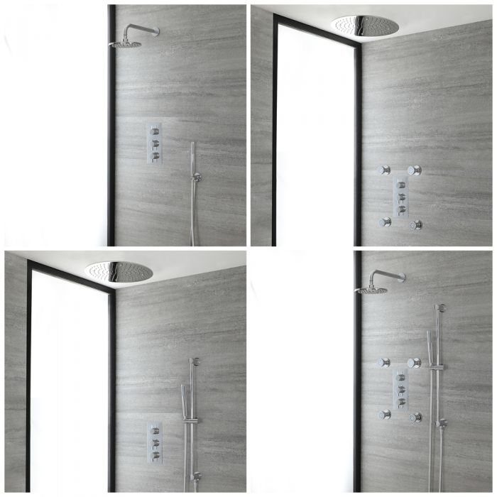 Milano Mirage - Chrome Thermostatic Shower System - Choice of Outlets