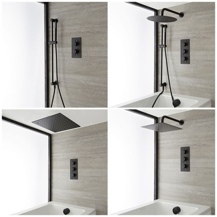 Milano Nero - Black Thermostatic Shower Bath System - Choice of Outlets