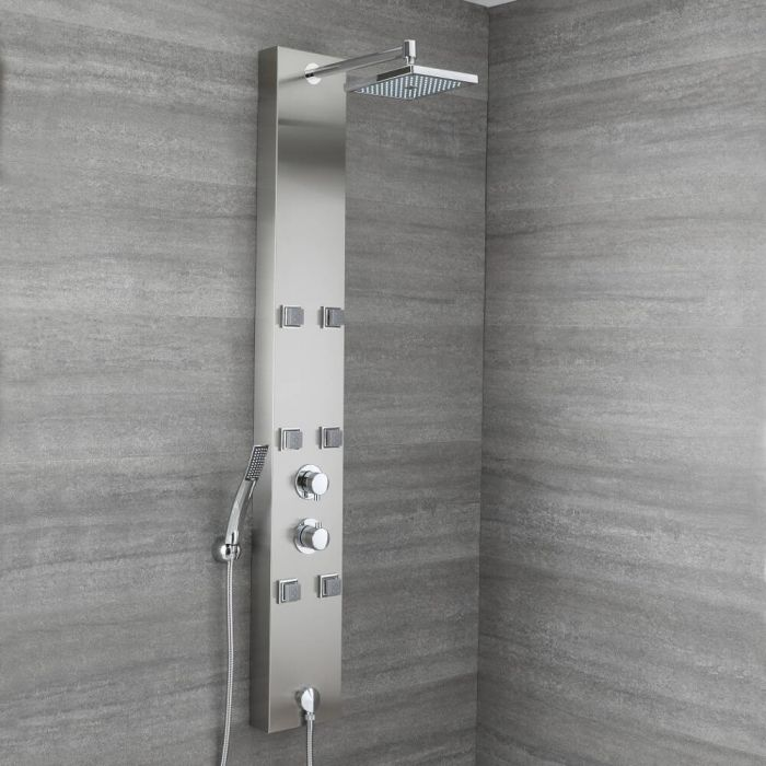 Milano Easton - Modern Exposed Thermostatic Shower Tower Panel with Shower Head, 6 Body Jets and Hand Shower
