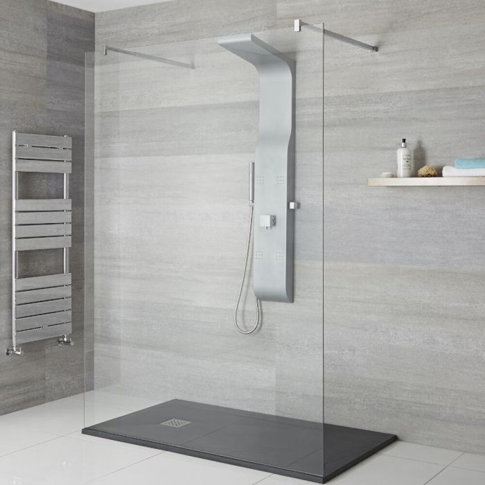 Milano Dalton - Modern Exposed Shower Tower Panel with Large Shower Head, Hand Shower and Body Jets - Matt Silver