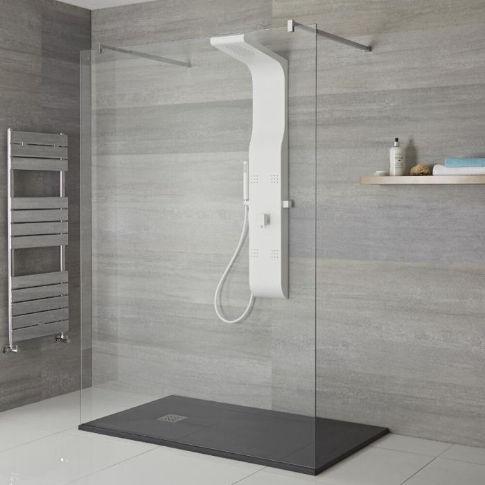 Milano Dalton - Modern Exposed Shower Tower Panel with Large Shower Head, Hand Shower and Body Jets - White