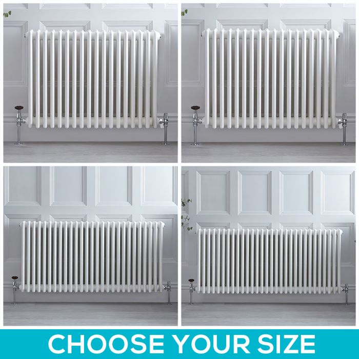 Stelrad Regal - White Horizontal Traditional Triple Column Radiator - Choice of Size