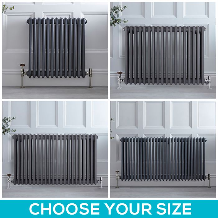 Stelrad Regal - Anthracite Horizontal Traditional Four Column Radiator - Choice of Size