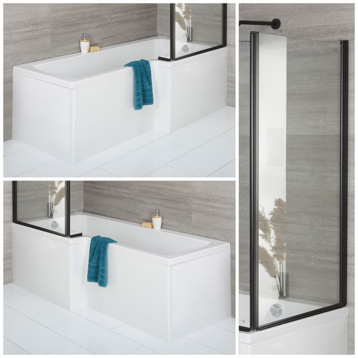 Milano Elswick - 1700mm x 850mm Square Shower Bath with Black Bath Screen and Front Panel - Left and Right Hand Options