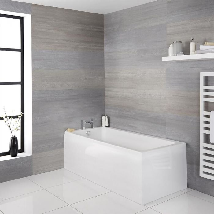 Milano Elswick - White Modern Standard Single Ended Bath - Choice of Sizes