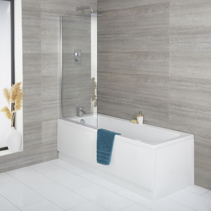 Milano Farington - Standard Single Ended Bath with Square Bath Screen and Front Panel - Choice of Sizes