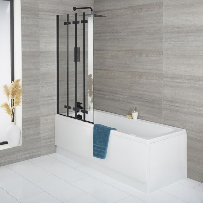 Milano Farington - Standard Single Ended Bath with Black Folding Bath Screen and Front Panel - Choice of Sizes