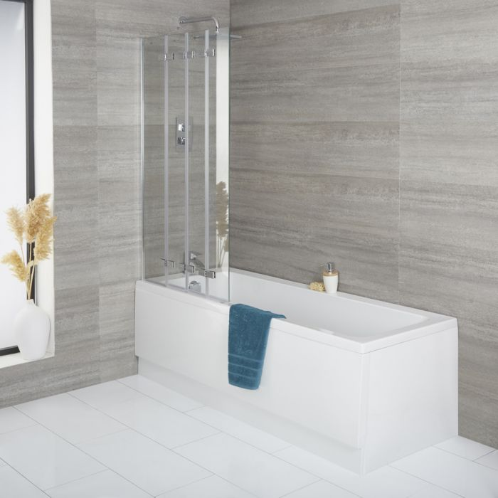 Milano Farington - Standard Single Ended Bath with Folding Bath Screen and Front Panel - Choice of Sizes