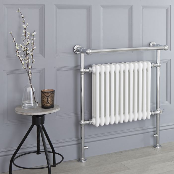 Milano Elizabeth - White Traditional Electric Heated Towel Rail - 930mm x 790mm (With Overhanging Rail)
