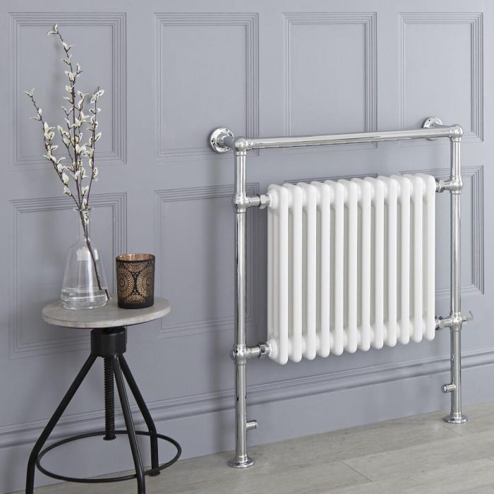 Milano Elizabeth - White Traditional Electric Heated Towel Rail - 930mm x 790mm