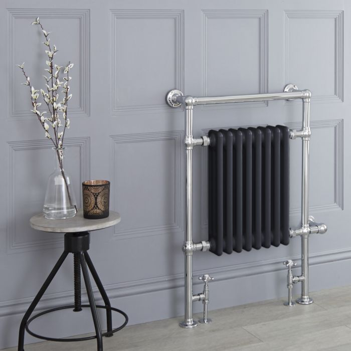 Milano Elizabeth - Anthracite Traditional Heated Towel Rail - 930mm x 620mm
