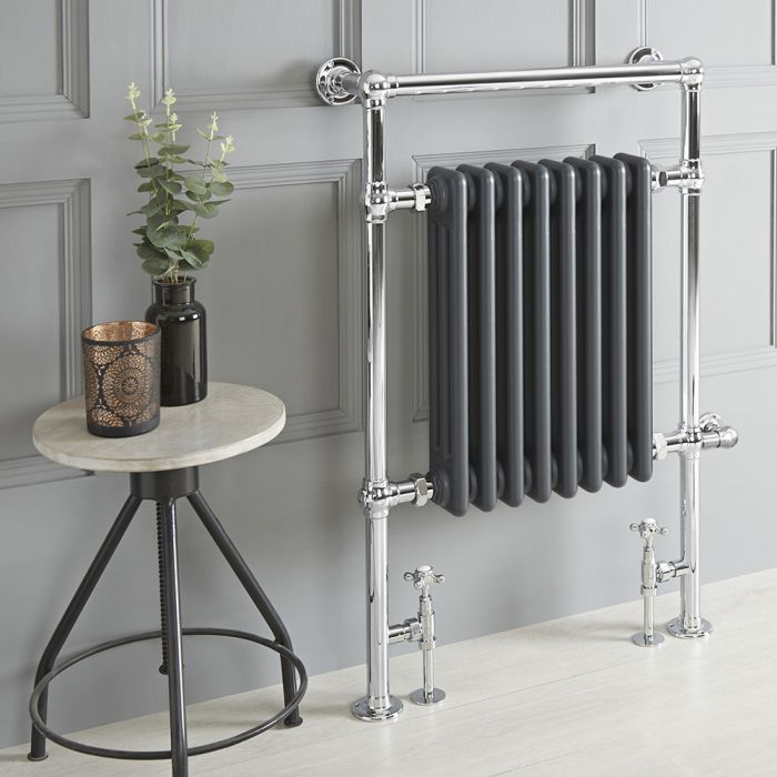 Milano Elizabeth - Anthracite Traditional Dual Fuel Heated Towel Rail - 930mm x 620mm - Choice of Wi-Fi Thermostat and Cable Cover