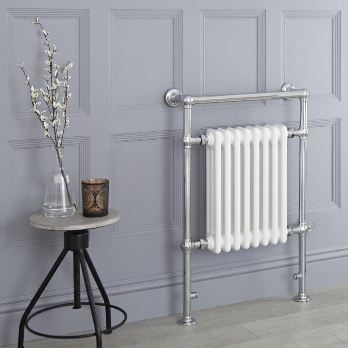 Milano Elizabeth - White Traditional Electric Heated Towel Rail - 930mm x 620mm