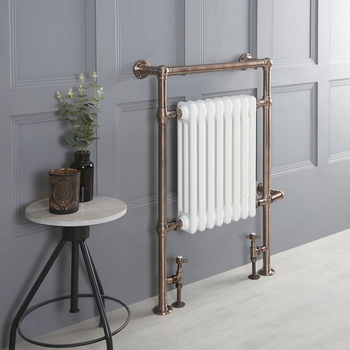 Milano Elizabeth - Oil Rubbed Bronze Traditional Dual Fuel Heated Towel Rail - 930mm x 620mm - Choice of Wi-Fi Thermostat and Cable Cover