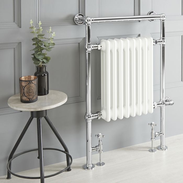 Milano Elizabeth - White Traditional Dual Fuel Heated Towel Rail - 930mm x 620mm - Choice of Wi-Fi Thermostat and Cable Cover