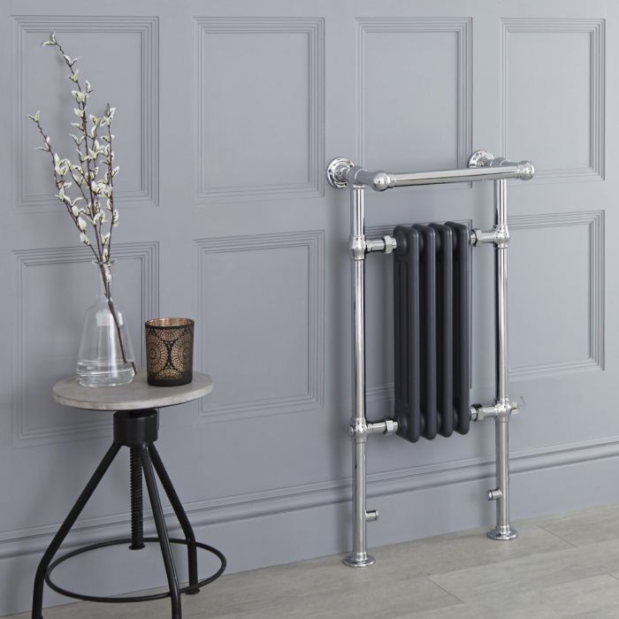 Milano Elizabeth - Anthracite Traditional Electric Heated Towel Rail - 930mm x 450mm (With Overhanging Rail)