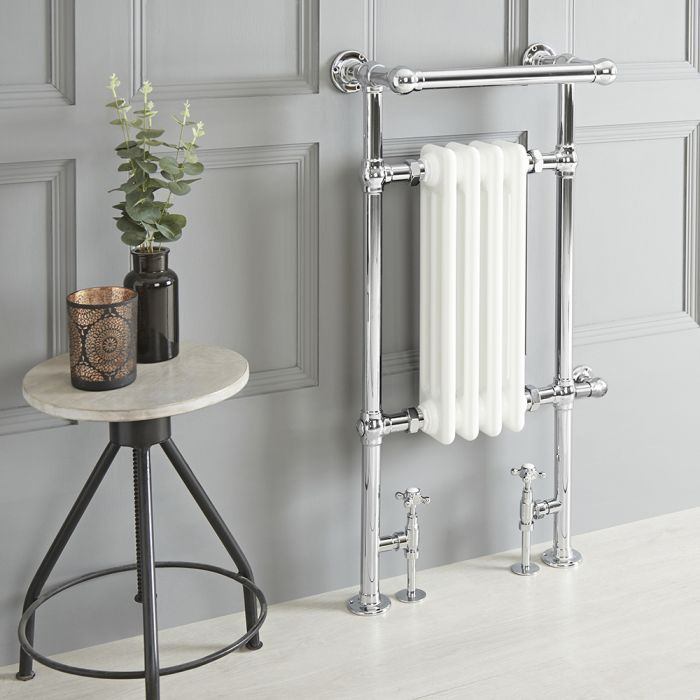 Milano Elizabeth - White Traditional Dual Fuel Heated Towel Rail - 930mm x 450mm - Choice of Wi-Fi Thermostat and Cable Cover