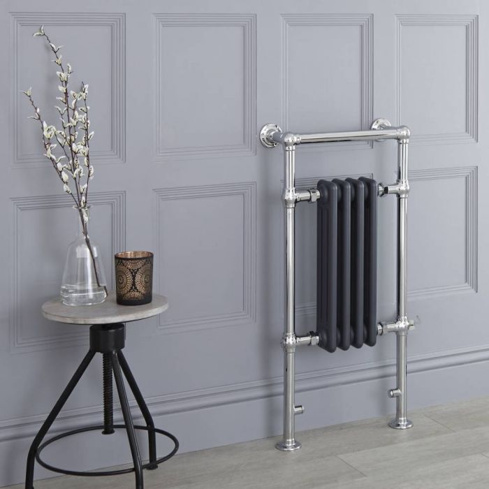 Milano Elizabeth - Anthracite Traditional Electric Heated Towel Rail - 930mm x 450mm