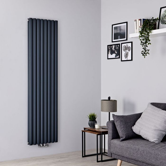 Milano Aruba Flow - Anthracite Vertical Middle Connection Designer Radiator - 1780mm x 472mm (Double Panel)