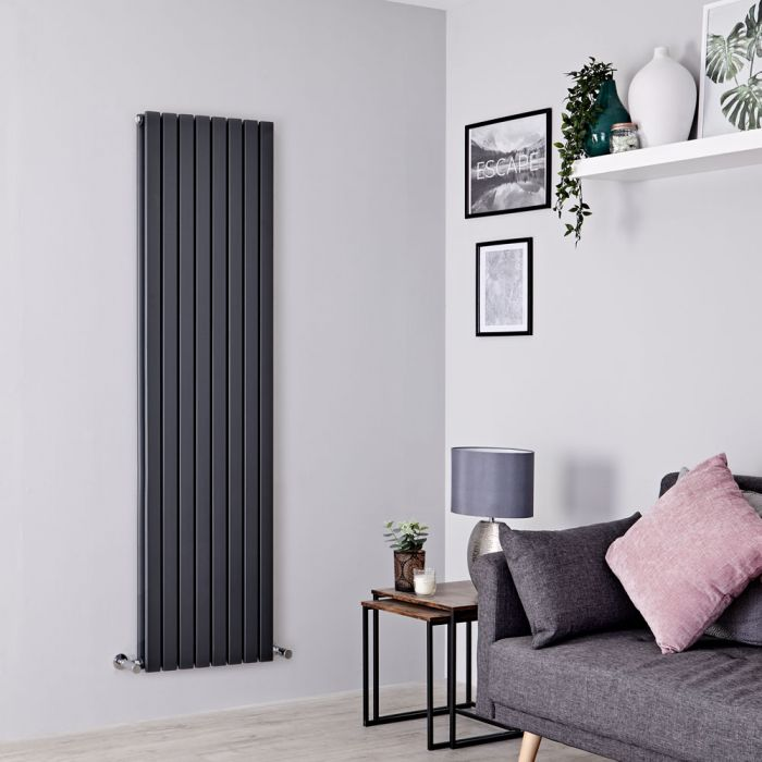 Milano Capri - Anthracite Flat Panel Vertical Designer Radiator - 1780mm x 472mm (Double Panel)