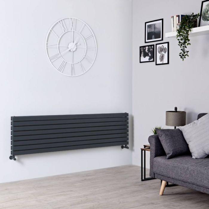 Milano Capri - Anthracite Flat Panel Horizontal Designer Radiator - 472mm x 1780mm (Double Panel)