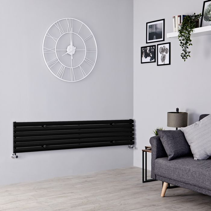 Milano Aruba - Black Horizontal Designer Radiator - 354mm x 1780mm
