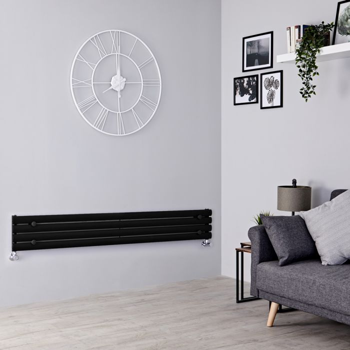 Milano Aruba Slim - Black Space-Saving Horizontal Designer Radiator - 236mm x 1780mm