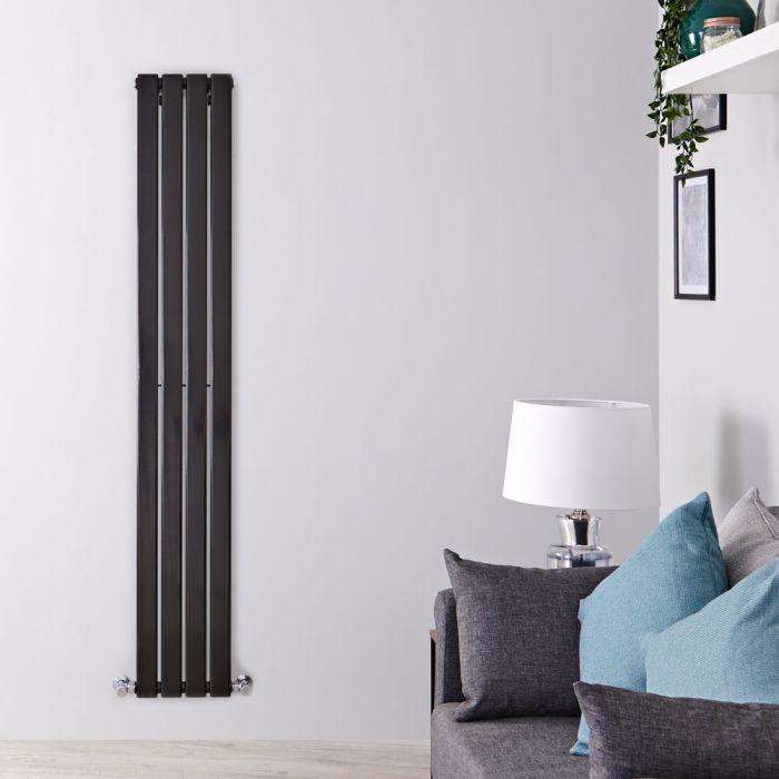 Milano Alpha - Black Flat Panel Vertical Designer Radiator - 1780mm x 280mm