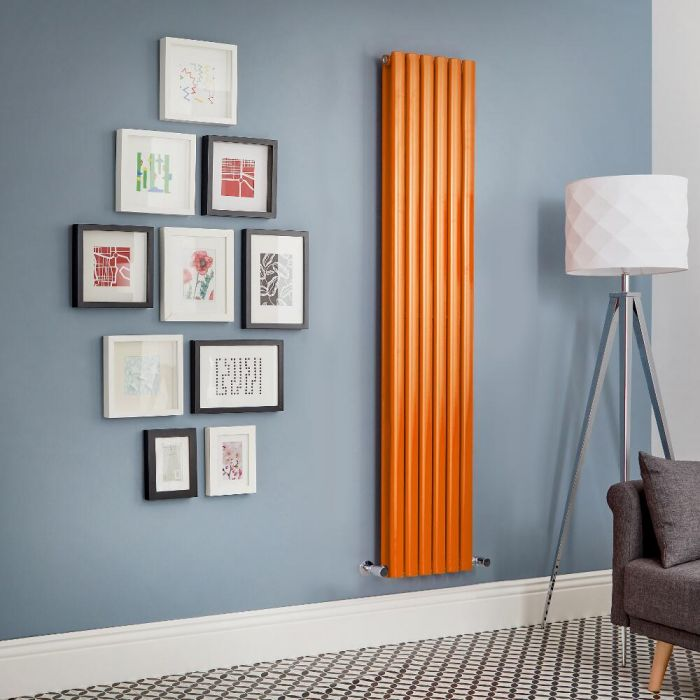 Milano Aruba - Orange Vertical Designer Radiator (Double Panel) - All Sizes