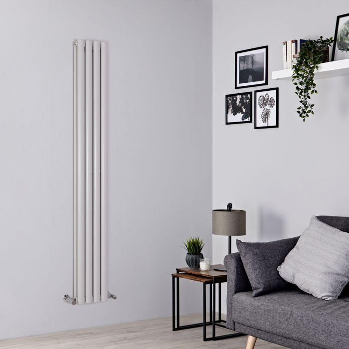 Milano Aruba - Light Grey Vertical Designer Radiator - 1780mm x 236mm (Double Panel)
