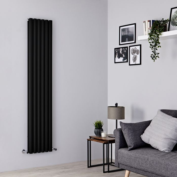 Milano Aruba - Black Vertical Designer Radiator - 1780mm x 354mm (Double Panel)