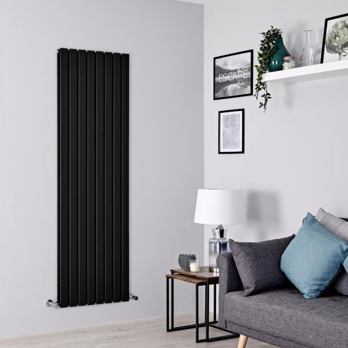 Milano Alpha - Black Flat Panel Vertical Designer Radiator - 1780mm x 560mm (Double Panel)