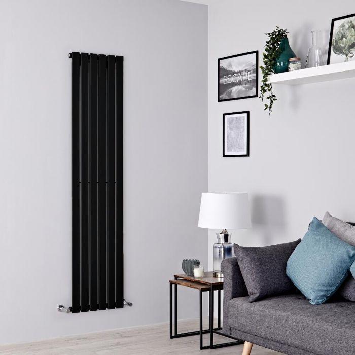 Milano Alpha - Black Flat Panel Vertical Designer Radiator - 1780mm x 420mm