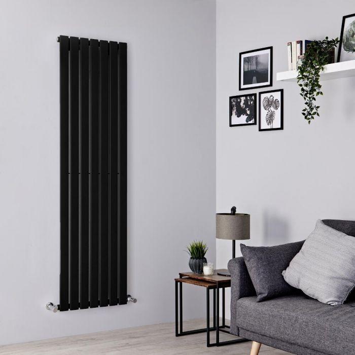 Milano Alpha - Black Flat Panel Vertical Designer Radiator - 1780mm x 490mm