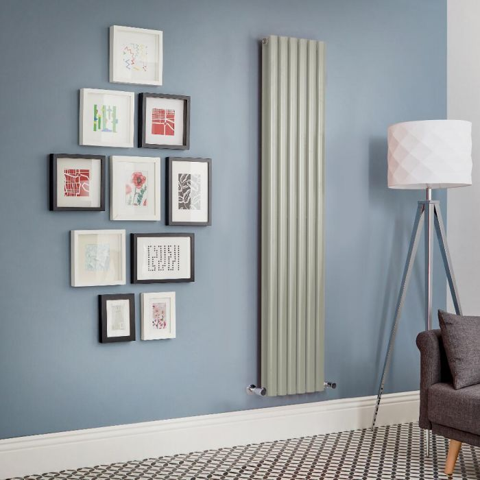 Milano Aruba - Sage Green Vertical Designer Radiator (Double Panel) - All Sizes