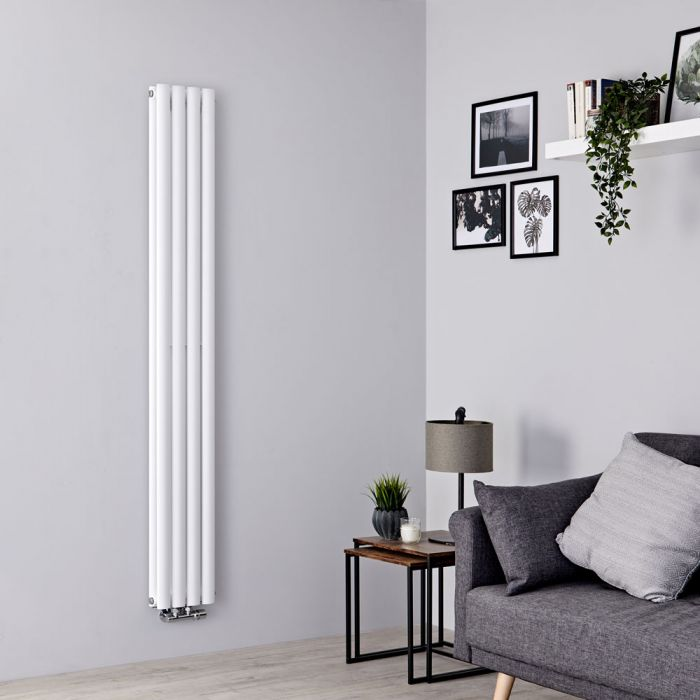 Milano Aruba Flow - White Vertical Middle Connection Designer Radiator - 1780mm x 236mm (Double Panel)