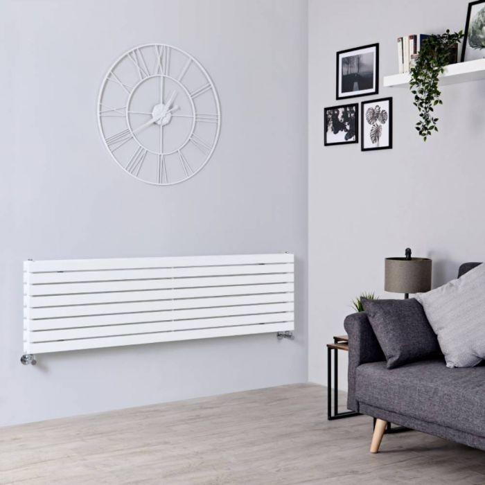 Milano Capri - White Flat Panel Horizontal Designer Radiator - 472mm x 1780mm (Double Panel)