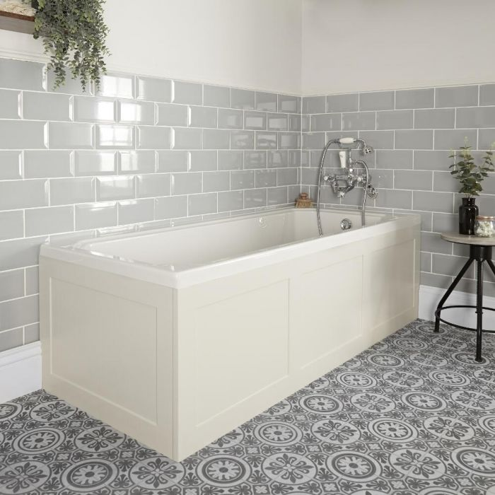 Milano Richmond - White Traditional Single Ended Standard Bath - 1700mm x 700mm - with Antique White Panels