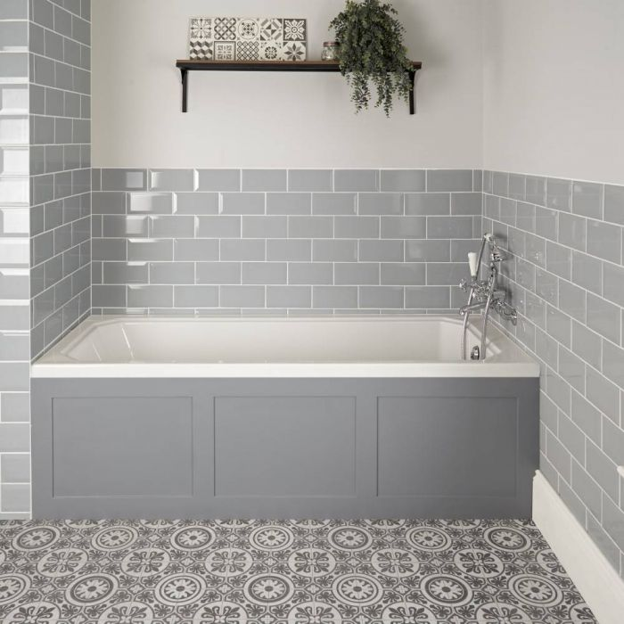 Milano Richmond - White Traditional Single Ended Standard Bath with Light Grey Panel - 1700mm x 750mm