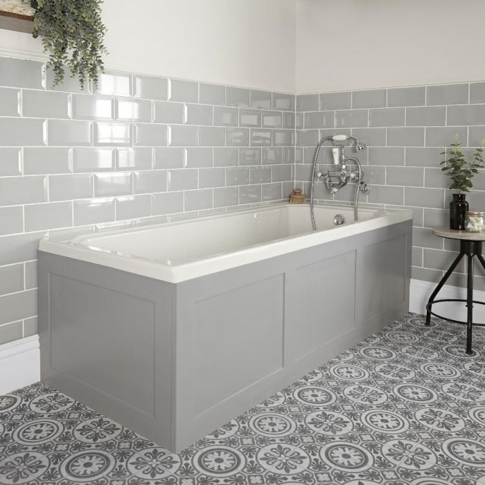 Milano Richmond - White Traditional Single Ended Standard Bath - 1700mm x 750mm - with Light Grey Panels