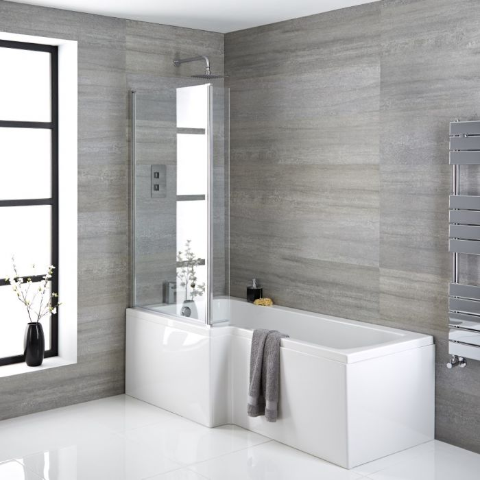 Milano Elswick - 1700mm x 850mm Left Hand Square Shower Bath - Choice of Panels, Screen and Waste