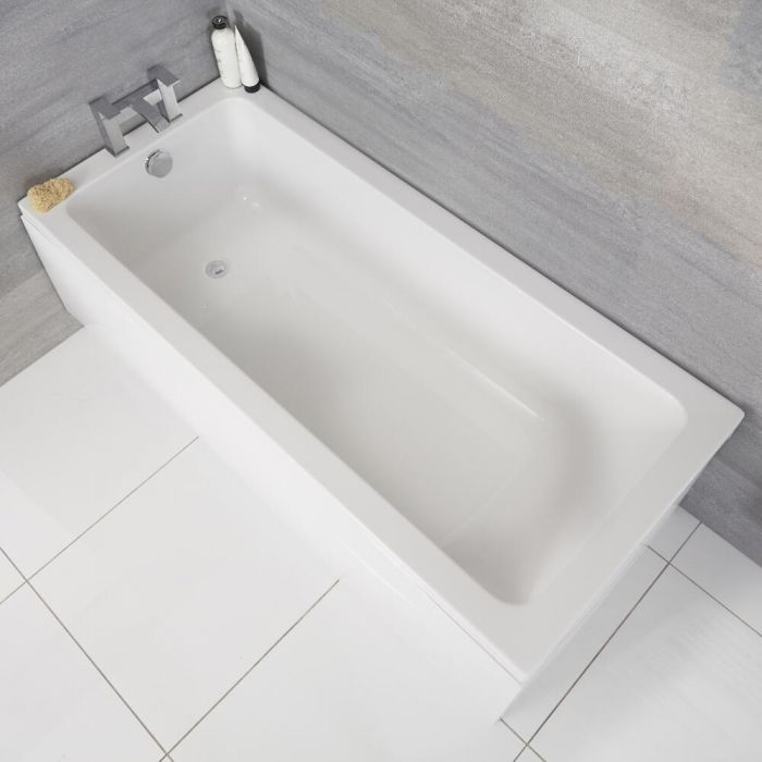 Milano Farington - White Modern Single Ended Standard Bath - 1600mm x 700mm