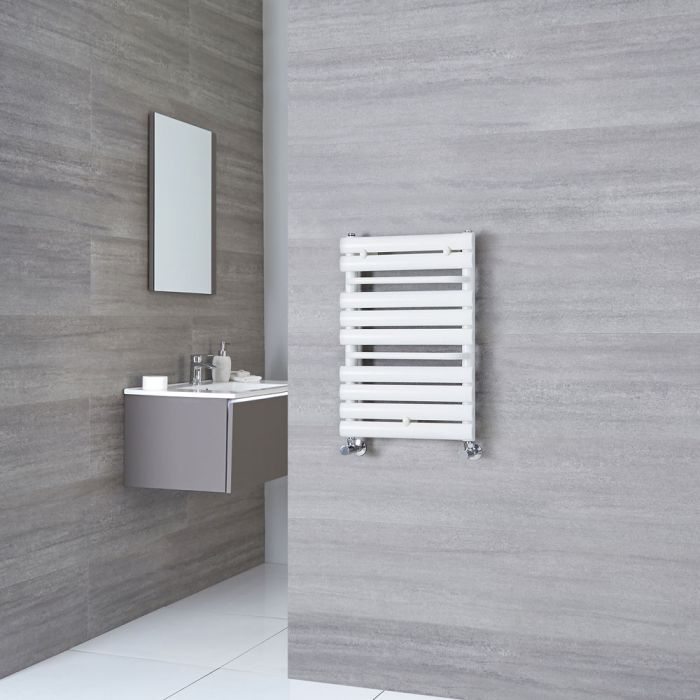 Milano Select - White Designer Heated Towel Rail - 650mm x 445mm