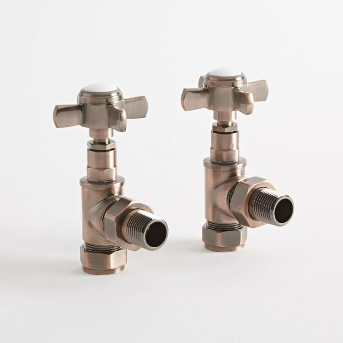 Milano - Oil Rubbed Bronze Traditional Angled Radiator Valves (Pair)