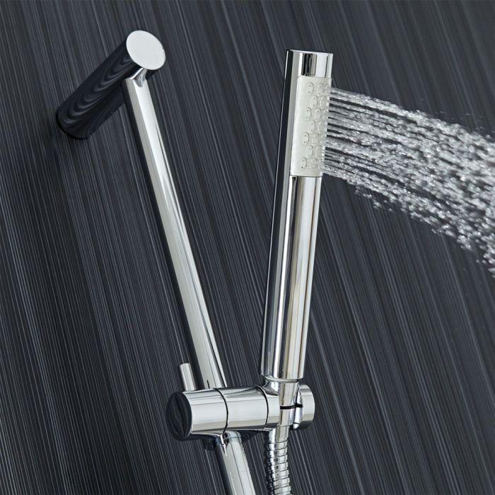 Milano Tec - Modern Shower Riser Rail Kit with Hand Shower and Outlet Elbow - Chrome