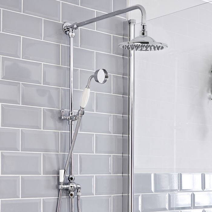 Milano Victoria - Traditional Grand Rigid Riser Shower Kit with Hand Shower - Chrome and White