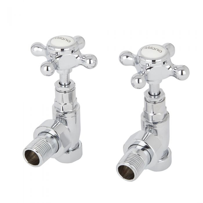 Milano - Chrome Traditional Angled Radiator Valves (Pair)